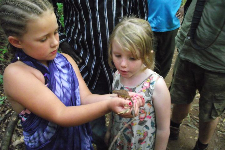 Children with a Pygmy Chameleon